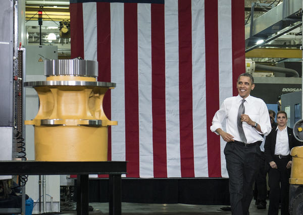 President Obama arrives to speak at the Linamar factory in Asheville, N.C.