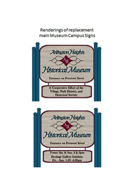 Rendering for signage for the Arlington Heights History Museum.