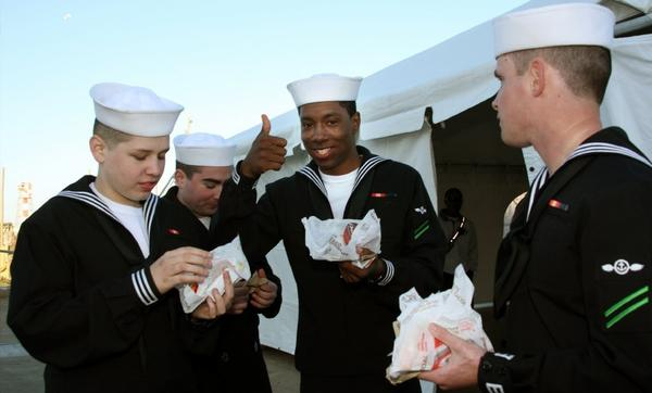Sailors eating Doritos Locos Tacos