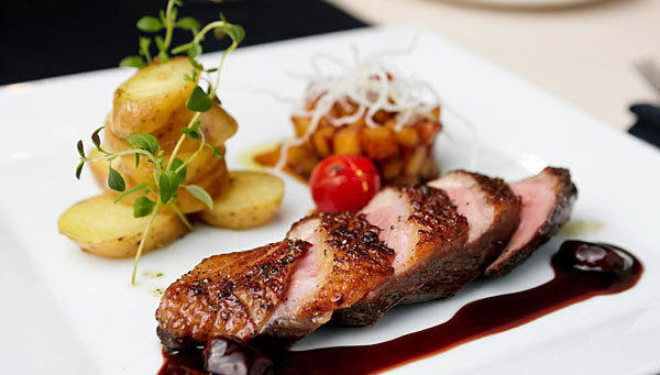 <b>Sauteed duck breast with cherry port sauce</b><br> <br> Prep: 35 minutes<br>