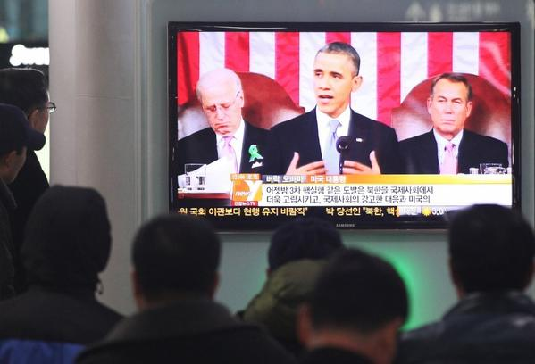 South Koreans watch State of the Union speech.