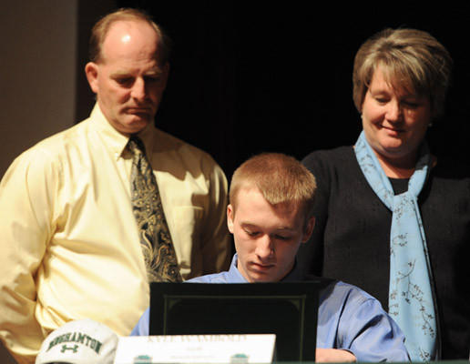 Kyle Wambold, a golfer at Emmaus High School, participates in signing day for Division I athletes at Emmaus High School on Wednesday.