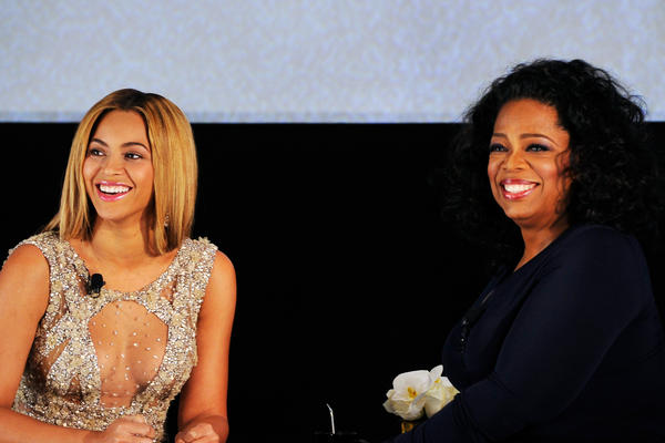 "Beyonce and Oprah Winfrey address audience at the New York premiere of new HBO documentary ""Beyonce: Life is But a Dream."""