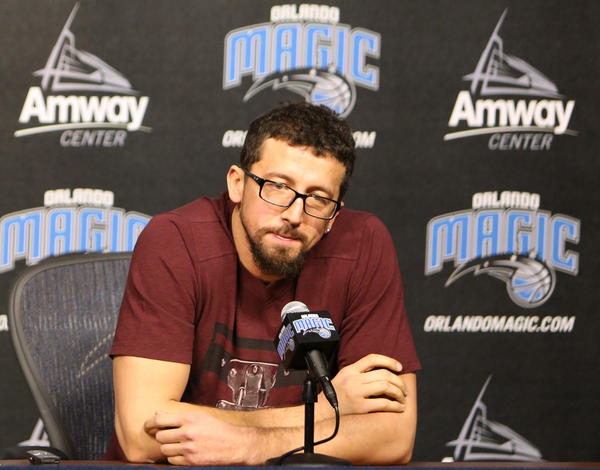 Orlando Magic forward Hedo Turkoglu answers questions during a press conference at Amway Center after the NBA announced his 20 game suspension for violating the terms of the NBA/NBPA Anti-Drug Program by testing positive for methenolone in Orlando
