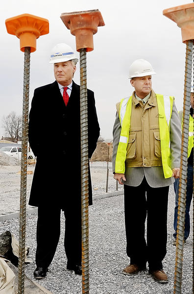 Maryland Comptroller Peter Franchot, left, looks over the new Bester Elementary construction site with Washington County Public Schools Deputy Superintendent Boyd Michael on Wednesday.