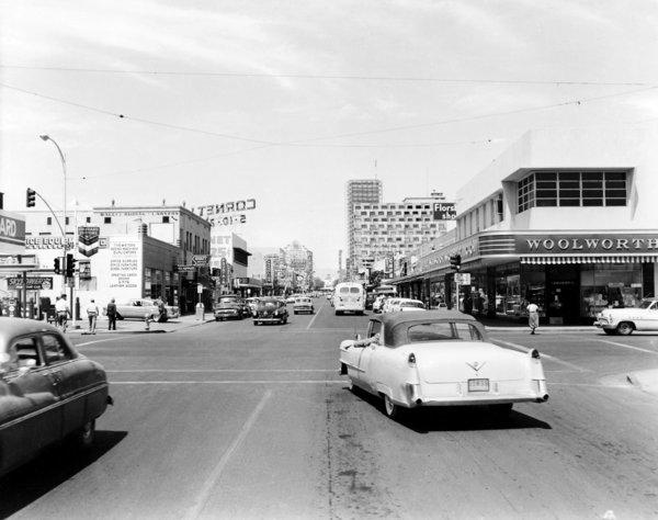 Decades before it would be turned into a covered pedestrian walkway, Fremont Street is captured in this 1956 photo.