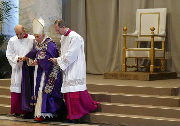 Pope Benedict XVI arrives at St. Peter's Basilica on Ash Wednesday.