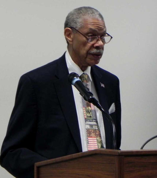Retired U.S. Army Maj. Gen. Robert C. Gaskill Sr. speaks Wednesday at Letterkenny Army Depot in Chambersburg, Pa., in observance of Black History Month.