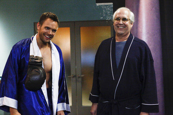 Jeff (Joel McHale) is a boxer, but which boxer? And Pierce is obviously not prepared for Valloween. Or is he Hugh Hefner?