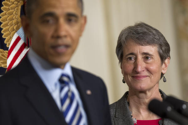 President Obama, left, announces Sally Jewell, chief executive officer of Recreational Equipment Inc., as his nominee to become secretary of the U.S. Interior Department at the White House in Washington, D.C.