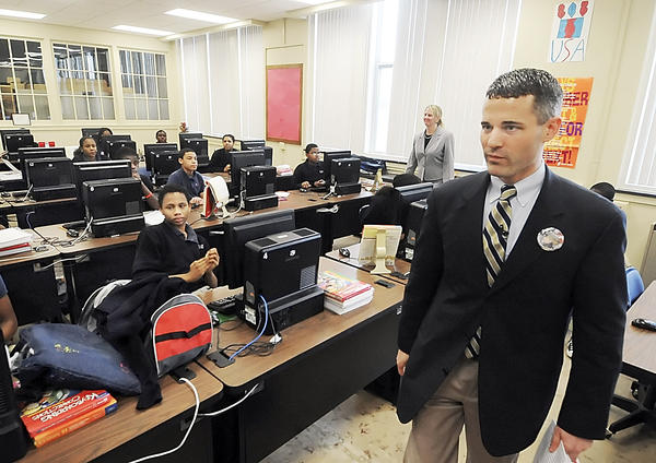 Rep. Rob Kauffman visits a computer class at the former Scotland (Pa.) School for Veterans' Children in this 2009 Herald-Mail file photo. Kauffman authored an amendment to the states Small Games of Chance bill that was passed by the House Wednesday.