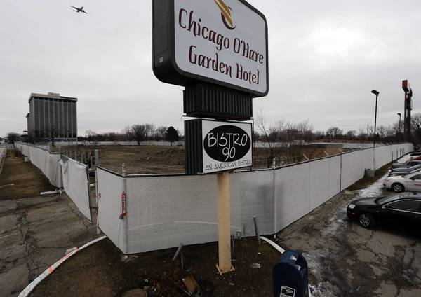 The Chicago O'Hare Garden Hotel was razed in November to make way for a planned convention center.