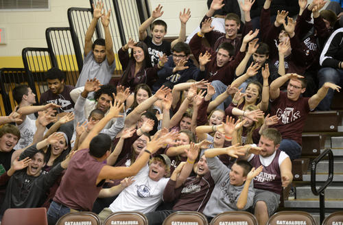 Bangor High School fans root for their team in the stands. The Colonial League girls basketball league semifinals playoffs took place at Catasauqua High School Wednesday night.