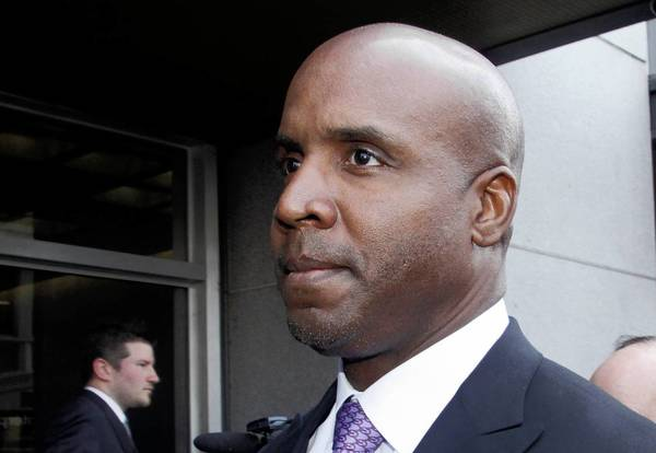 Barry Bonds leaves federal court in San Francisco in 2011 after being found guilty of one count of obstruction of justice. Bonds' appeal of his conviction was heard Wednesday by a three-judge panel of the 9th U.S. Circuit Court of Appeals.