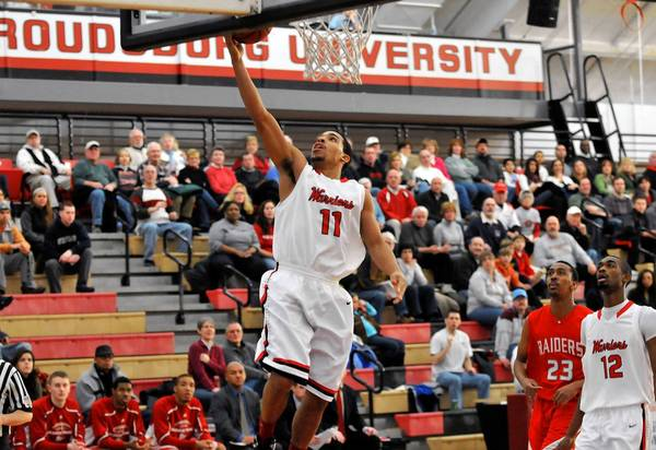 East Stroudsburg's Whis Grant on January 26, vs. Shippensburg at Koehler Fieldhouse. ESU Won 99-56 and Whis had a game-high of 18 points.