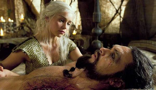 """Game of Thrones"" characters Daenerys, left, and Khal Drogo in the first season of the HBO series."