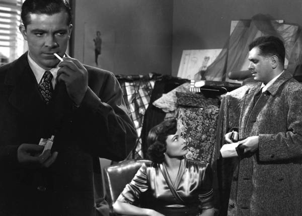 "Dana Andrews, left, and Gene Tierney in ""Where the Sidewalk Ends."""