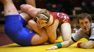"The Northern State wrestlers put a little ""push-pull-pound"" into practice to pin a loss on the University of Mary at Wachs Arena Wednesday night."
