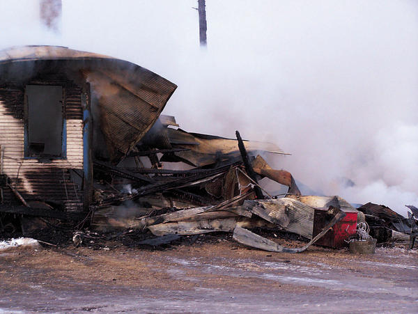The scene at the former Hillsview Bar fire fought by the Eureka and Hosmer fire departments.