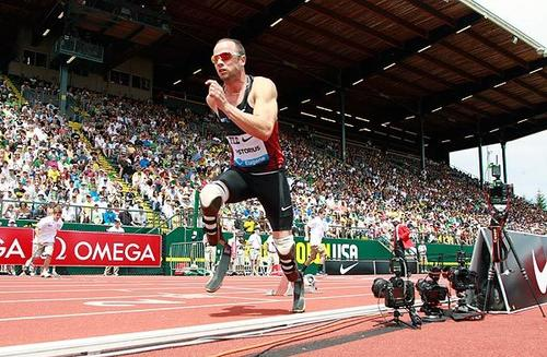 Oscar Pistorius bolts from  the blocks for the 400-meter race during the Prefontaine Classic track and field meet in Eugene, Ore., earlier this month. The South African with prosthetics would finish eighth.