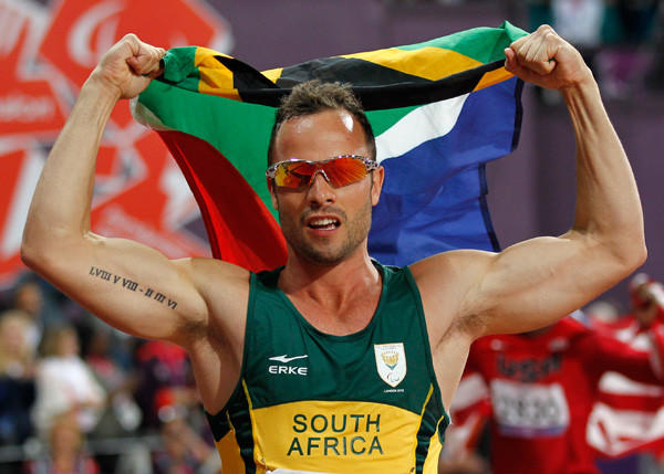 South Africa's Oscar Pistorius celebrates winning gold in the men's 400m - T44 final at the London 2012 Paralympic Games.