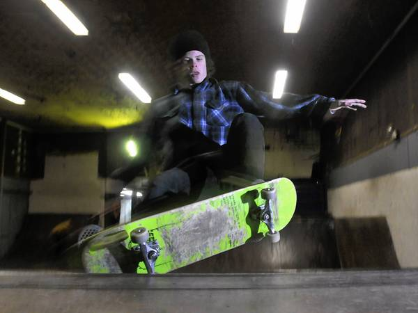 Eli Mainuli, 15, of Bristol, skates a half pipe at CT Bike and Skate recently.