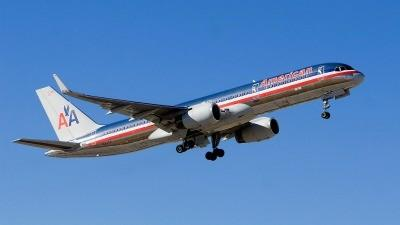 American Airline 757 plane in flight.