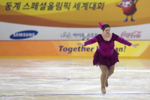 Crystal Greig of Canada performs during the women's figure skating event at the Special Olympics in South Korea