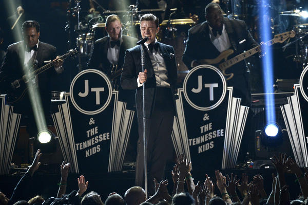"Justin Timberlake donned a ""Suit & Tie"" for his performance at the Grammy Awards at Staples Center on Sunday."