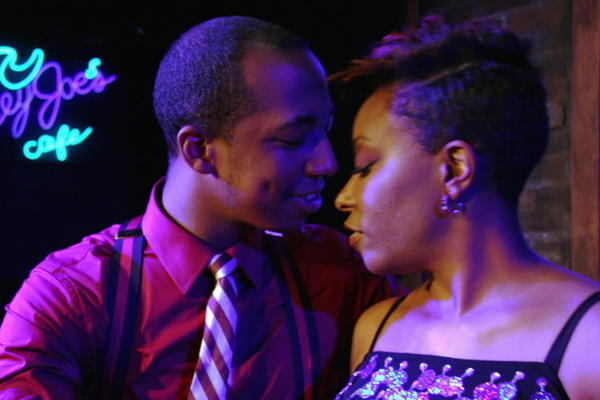 "Steven Perkins and Sydney Charles in Theo Ubique Cabaret Theatre's production of ""Smokey Joe's Cafe."""