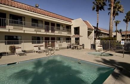 The pool at the Red Roof Inn Palm Springs, which is located in Thousand Palms, Calif.