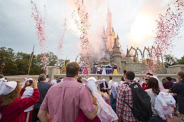 Dozens of couples renewed their vows at Walt Disney World's Magic Kingdom on Valentine's Day 2013