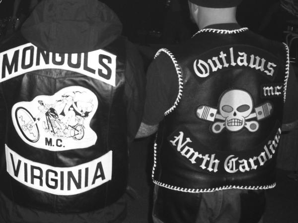 "A gathering at a clubhouse in Petersburg, Va., is pictured in ""Vagos, Mongols, and Outlaws,"" written by Charles Falco with Kerrie Droban. Falco rose to ""officer"" status in three biker gangs."