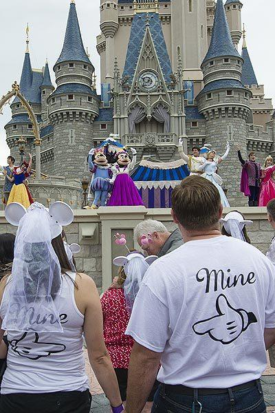 Dozens of couples renewed their vows at Walt Disney World's Magic Kingdom on Valentine's Day 2013.