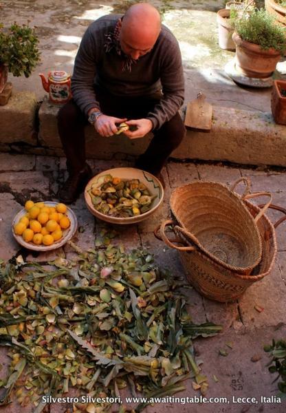 Chef Silvestro Silvestori trimming artichokes in Lecce, Italy.