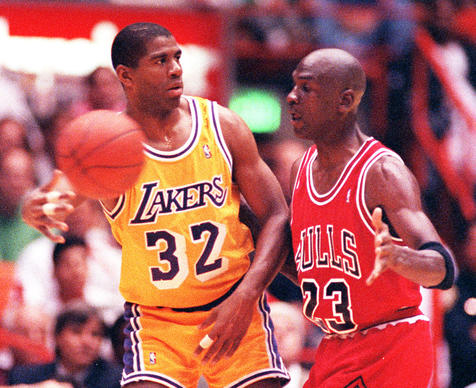 My favorite is the culmination of the struggle, beating the Lakers in L.A., winning the title after everybody said he wouldn't beat the Lakers. Everyone said back then there's no way Michael will win a championship because he's a selfish player, he's a scorer, he's a George Gervin-e