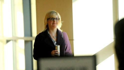 Megan Thode walks into the Northampton County Courthouse on Thursday. Judge Emil Giordano decided that Lehigh University neither breached contract nor sexually discriminated against Megan Thode, whose lawsuit sought $1.3 million in damages.