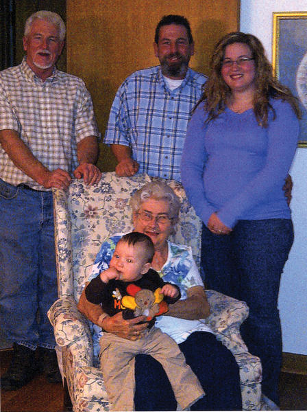 Five generations of a local family are pictured. Seated in front is great-great-grandmother, Helen Ayers holding Cole Matthew Harnish. Standing, from left, are great-grandfather, Bobby Ayers Sr.; grandfather, Bobby Ayers Jr.; and mother, Bailey Ayers.