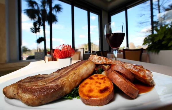 The pork trio from Cascade American Bistro at the Hyatt Regency Grand Cypress resort.