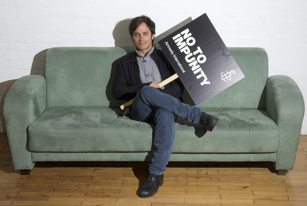 Gael Garcia Bernal poses for photos at the Amnesty International office in east London, to promote his Oscar-nominated film, NO, documenting the fall of Chilean dictator Agusto Pinochet.
