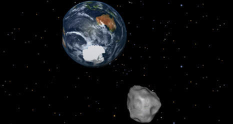 An illustration showing the flyby of Asteroid 2012 DA14. The rock will be closest to Earth around 11 a.m.
