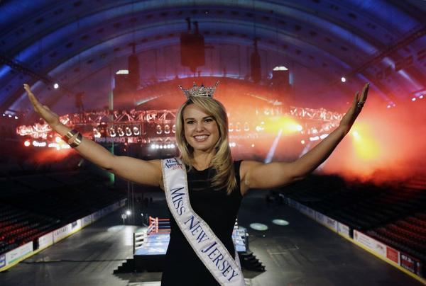 Miss New Jersey for 2012, Lindsey Petrosh, at Atlantic City's Boardwalk Hall, after it was announced that the Miss America pageant is returning to Atlantic City.