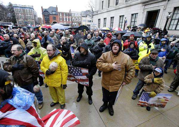 Gun rights advocates protest gun control laws in New Jersey. Legislators in some states are proposing bills that would aim to block enforcement of any new federal restrictions on firearms.