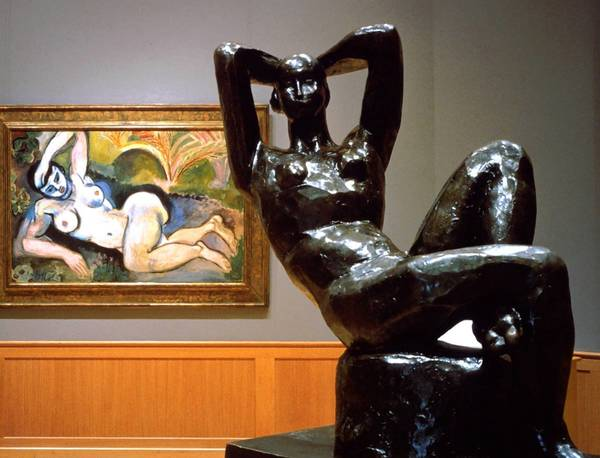 Blue Nude, rear, and Large Reclining Nude, both works by Henri Matisse, part of the Cone Collection, are shown at The Baltimore Museum of Art.