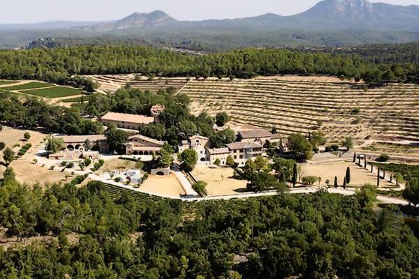 An aerial view of the 17th-century Chateau Miraval, the $60 million estate owned by actors Brad Pitt and Angelina Jolie.