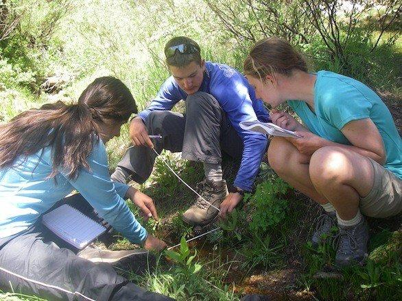 NatureBridge students perform a research project during a two-week backpack in Yosemite National Park.