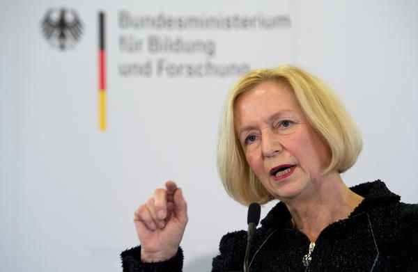 New German Education Minister Johanna Wanka speaks during a news conference at the Education Ministry in Berlin.
