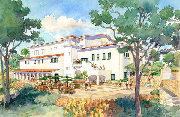 Flintridge Sacred Heart Academy plans to renovate their campus. Shown here is a rendering of the proposed new arts building and auditorium.