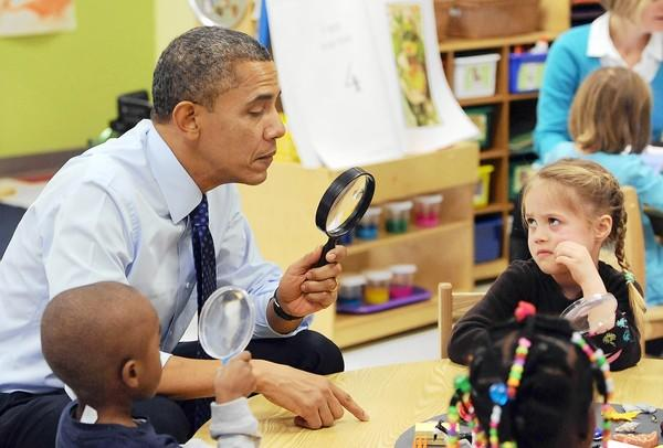 President Obama visits the College Heights Early Childhood Learning Center in Decatur, Ga., on a trip to push his proposals to expand preschool education across the country.