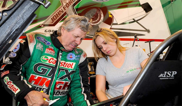 Brittany Force, the daughter of drag-racing legend John Force, fouled out of her first top-fuel race at NHRA Winternationals in Pomona.